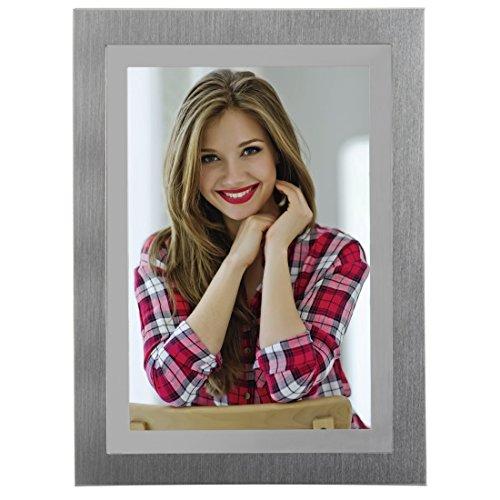 Hama Portrait fotolijst melbourne voor foto-formaat 10 x 15 cm, fotolijst van metaal, klassiek, om neer te zetten en op te hangen, fluwelen achterwand, echt glas, zilver