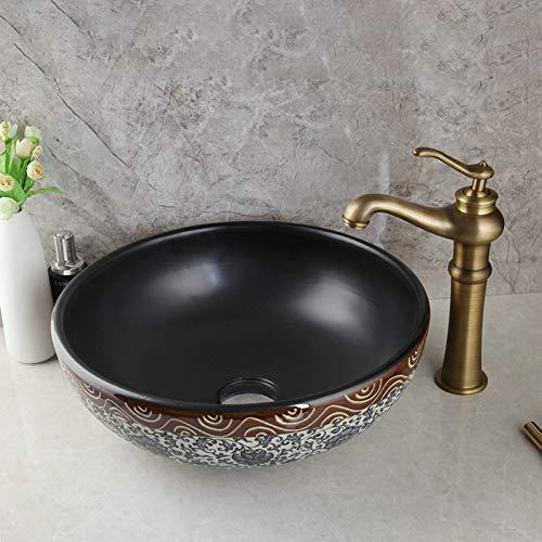 WEILINW Keramik Waschbecken Wasserhahn Set Tranditional Badezimmer Keramik RundwaschbeckenAntik Messing Deck montiert Wasserhahn Wasserhahn Wasserhahn