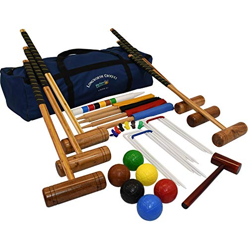 Garden Games 2125 - Longworth Familie Krocket Set für 6 Spieler in einer praktischen Tragetasche