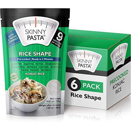 Skinny Pasta 270 gramos – Pasta Konjac Sin Olor (Noodles Shirataki) – Ideal Dietas Keto y Paleo – Sin Hidratos de Carbono – Comida Baja en Calorías (Arroz – Pack de 6)