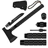 Portable Survival Axe, Folding Camping Axe Multitool Hatchet with Sheath, Sharpener, Tactical Tomahawk Hammer, Survival Gear Kit for Hunting, Hiking and Emergency