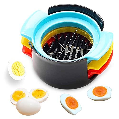 3-in-1-Eierschneider,Gekochter Eierschneider Manueller Eierschneider, Edelstahldraht-Schneidlinie Haltbarkeit Keilen Küchenwerkzeug für Gekochten Eiern,Erdbeeren,Pilzen,Salaten