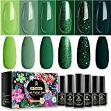 MEFA Gel Nail Polish Set 6 Colors Glitter Green Sparkle Gel Polish Kit Dark Green Avocado Nail Gel Pine Soak Off Gel Nail Kit Vanish Manicure Kit Gift Salon DIY
