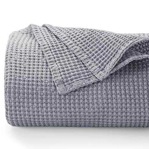 Bedsure 100% Cotton Thermal Blanket - 405GSM Premium Breathable Blanket in Waffle Weave for Home Decoration - Perfect for Layering Any Bed for All-Season - Queen Size (90 x 90 inches), Grey