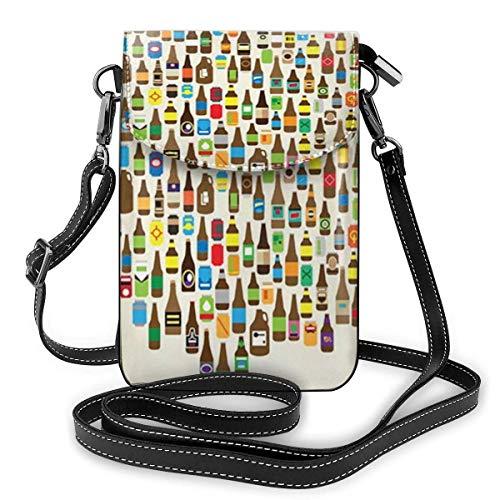 Crossbody Handy Geldbörse American Craft Beer Frauen PU Leder Multicolor Handtasche mit verstellbarem Riemen