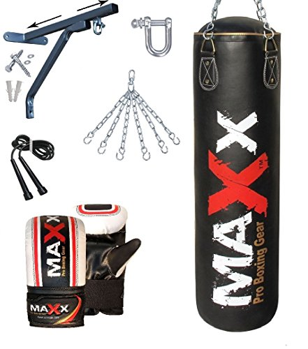Maxx Black punchbag set with wall bracket or hook FREE Chain bracket Mitts rop 5ft