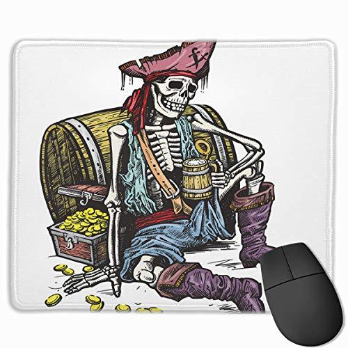 HUAYEXI Alfombrilla Raton Ordenador,Skeleton Pirate Holding Mug of Beer Cofre del Tesoro...