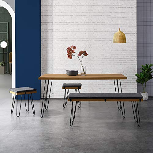 Cherry Tree Furniture Oak Dining Table Set with 2 Stools and 1 Dining Bench