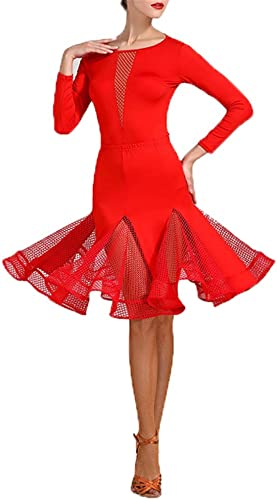 Femme Robe de Danse Ballet Femmes à Manches Longues évider Résille De Danse Latine Robe Costume De Danse De Salon Costume Ensemble Pratique Professionnelle Pratique Perforhommece Jupe Compétition Danse