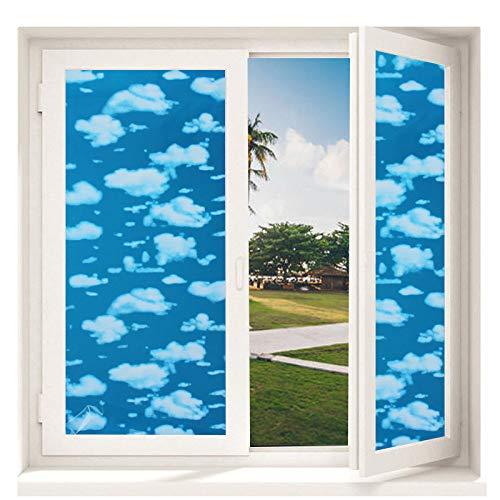 TFOOD Vinyl raambescherming tegen inkijk, folie, esthetisch hemel, blauw, wolken, wit, landschap, privacy, statische stickers, mat, glasdecor, zelfklevend, UV-bescherming