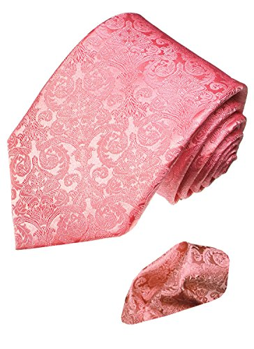 Lorenzo Cana - Marken 2 er Set aus 100% Seide - Hochzeitskrawatte mit Einstecktuch, Rosa Barockmuster - 2502501