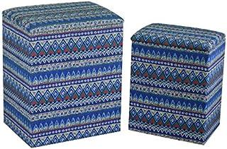 Vacchetti 1992040000 Lot de 2 paniers en Tissu, Bleu, Moyen
