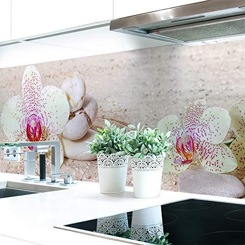Küchenrückwand Orchideen Weiß Premium Hart-PVC 0,4 mm selbstklebend 220x51cm