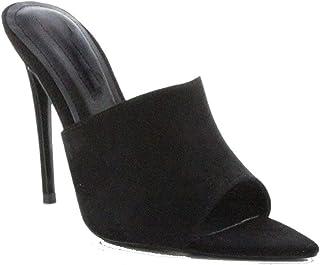 c3a48d886d48 Michelle Parker Cape Robbin CECE Black Vegan Suede Slip-On Mules Pointed Open  Toe Stiletto
