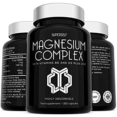 Magnesium Citrate Supplement with Zinc, Vitamin D & B6 - High Strength 180 Capsules - 1466mg Magnesium Supplements for Women & Men - Magnesium Complex Tablets Providing 440mg Elemental Magnesium