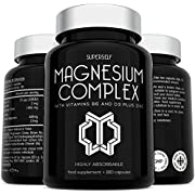 Magnesium Citrate Supplement with Zinc, Vitamin D & B6 - High Strength 180 Capsules - 1466mg Magnesium Supplements for Women & Men - Magnesium Citrate Tablets Providing 440mg Elemental Magnesium