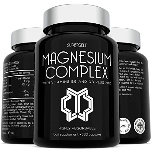 Magnesium Citrate Supplement with Zinc, Vitamin B6 and D3 - High Strength 180 Capsules - 1466mg Magnesium Supplements for Women & Men - Magnesium Complex Tablets Providing 440mg Elemental Magnesium