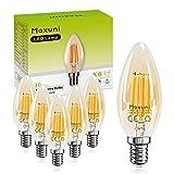 Maxuni E14 Bombilla LED, Bombilla Vintage C35 / B35 Vela, 4W Equivalente a 40W, 430Lm, Luz blanca cálida 2700K, Bajo consumo, Ahorro de energía, Paquete de 6 [Classe di efficienza energetica A+]