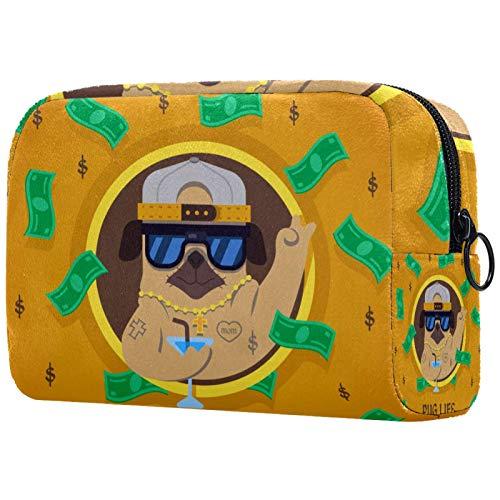 Bolso de cosméticos para mujer, bolsa de maquillaje, bolsa organizadora de artículos de tocador, con cremallera, 19 x 7 x 12 cm, divertido perro carlino con estilo gángster
