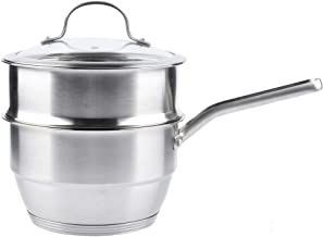 Stainless Steel Saucepan With Steamer Induction Compatible Cookware, 3.2-Quart, Silver