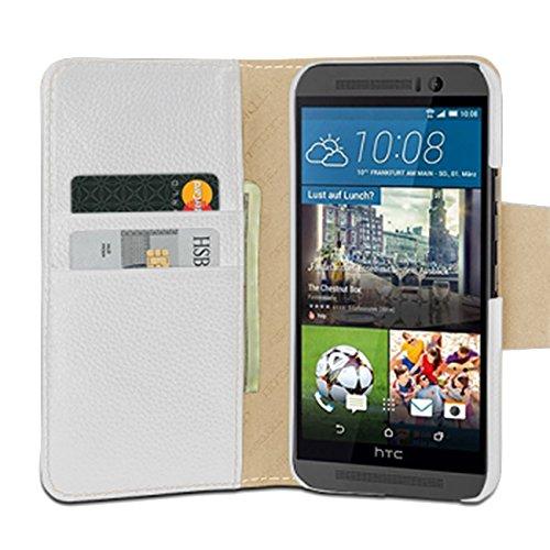DEDTET Tasche passend für HTC One M9, Außenseite aus Echt-Leder, Innenseite aus Textil & Leder, Hülle mit Magnet-Verschluss, Schutz-Hülle seitlich aufklappbar, Ultra-Slim Cover, Weiß