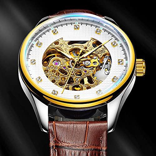 La Moda Relojes Hombre, Negocios Cuarzo Simulado,Relojes De Pulsera Cronografo Diseñador Impermeable ,Acero Inoxidable Cinturón De Malla Relojes De Pulsera (Color : Gold)