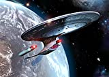 Star Trek Digitale Kunst Glossy drucken 'Enterprise D In Orbit' (A2 420mm x 594mm)