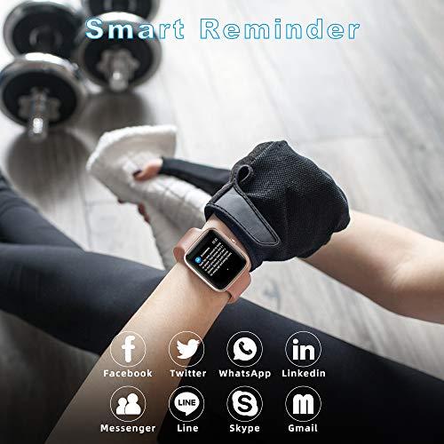 YONMIG Smartwatch, Fitness Armband Tracker Voller Touch Screen Uhr IP68 Wasserdicht Armbanduhr Smart Watch mit Schrittzähler Pulsmesser Stoppuhr für Damen Kinder Sportuhr für iOS Android (Rosa)