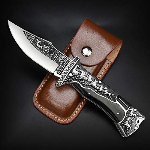 Nedfoss Zweihand Klappmesser, Taschenmesser mit Gürtelclip, EDC Messer mit Back Lock, Outdoormesser& Jagd klappmesser in schönes Design, scharf
