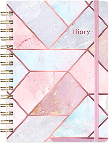 Eono by Amazon - Diary 2021 Week to View Planner A5, 12 Month Planner with Pink Hardcover, Monthly Tabs and Expandable Inner Pocket, Pink, 21.5 x 15.5 x 1.5 cm