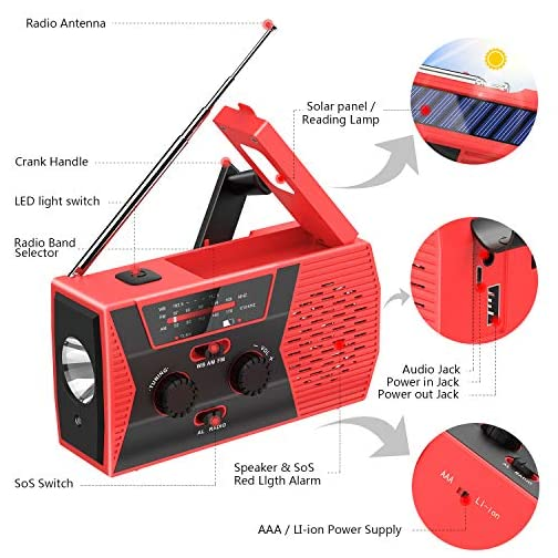 Emergency Solar Hand Crank Portable Radio, NOAA Weather Radio for Household and Outdoor Emergency with AM/FM, LED… 5