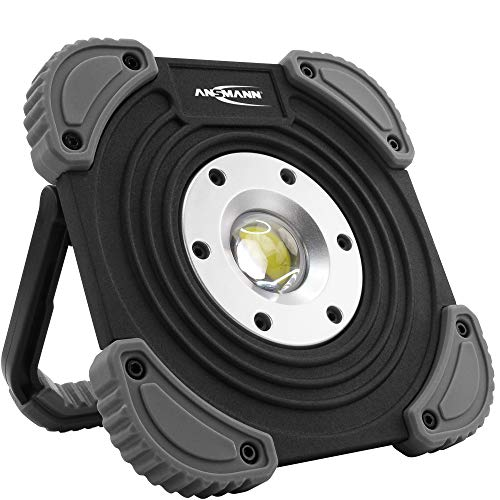 Ansmann de chantier à LED avec Pile 1400 lm & 10W - lampe de travail rech. flexible & variable IP64 - projecteur à LED robuste pour chantier, atelier & garage - projecteur de travail à LED Noir