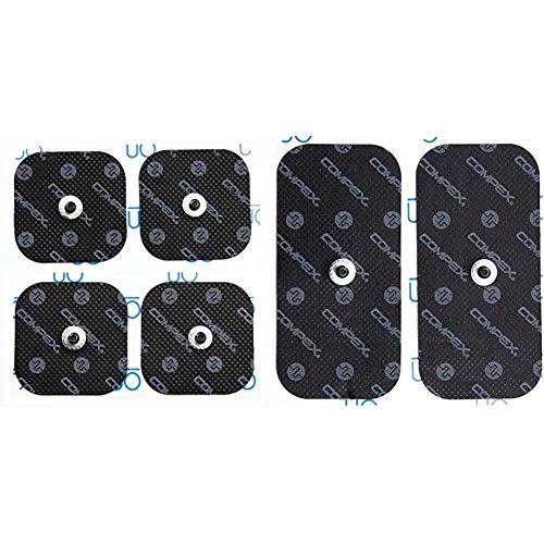 Compex - Pack de electrodos Easysnap Performance 5 x 10 cm - 2 Unidades + 6260760 - Electrodos Easysnap Performance, 5 X 5 cm, Color Azul