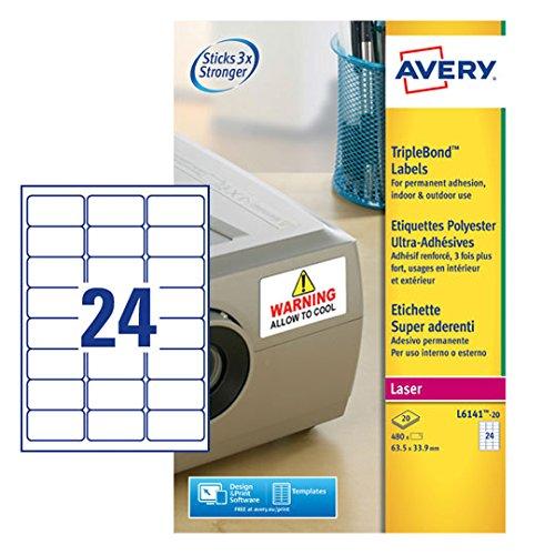 Avery Dennison L7173b-100 BlockOut Versandetiketten 100/Blatt/// 10/Etiketten pro Blatt wei/ß