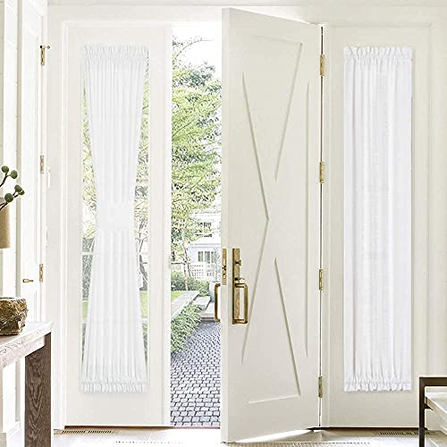 PONY DANCE Sidelight Curtains for Front Door - 30 Wide x 72 Long White Semi-Sheers French Door Panel Side Light Rod Pocket Drape for Glass Door with Tieback, Set of 1