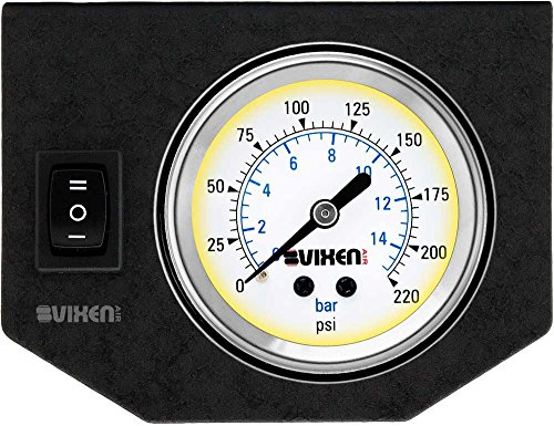 Vixen Air One 2' Single Needle Air Pressure White Gauge with One Momentary Switch and Metal Dash Panel Kit VXF1GP1RKW