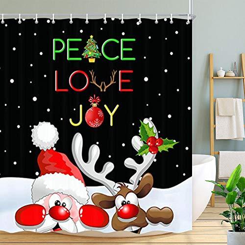 Duschvorhang mit Weihnachtsmotiv, Elch & Weihnachtsmann, schwarz-weiß, Polyester, wasserdicht, für Badezimmer, 174 x 178 cm