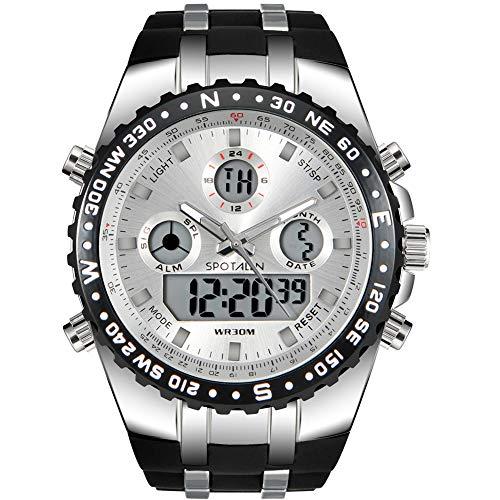 Herren Digital Sportuhr Militär wasserdichte Analoguhr Stoppuhr Armee Stoßfest LED Hintergrundbeleuchtung Lässige Armbanduhren für Männer,Weiß SP1606W