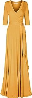 Bon Rosy Women's 3/4 Sleeve Classic Paris Maxi Wrap Dress