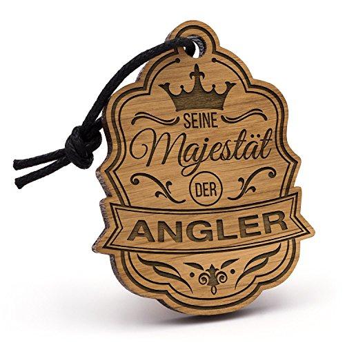 Fashionalarm Schlüsselanhänger Majestät Angler aus Holz mit Gravur | Einzigartige Geschenk Idee Geburtstag Angeln Fischer Fischen Beruf Hobby