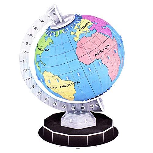 Globo terraqueo Modelo 3D Manual Tridimensional Puzzle DIY Color Tierra Ensamblados Juguetes Educativos Juego de Regalo Montado Globo Ayudas de Enseñanza para Aprender Educación Enseñanza Demo Decorac