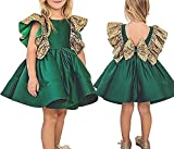 Baby Girls Wedding Vintage Princess Sequins Bowknot Communion Party Dress Tutu Outfit Clothes (110 (4-5 Y)) Green
