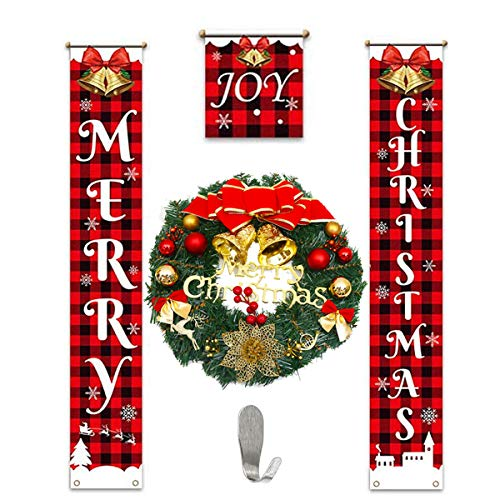 3 Pieces Christmas Decorations Banner and 15 Inches Christmas Wreath - Porch Sign Elf Decor Xmas Hanging Front Door Indoor Outdoor Holiday Party Supplies and Ornament Wall Artificial Pine Garland