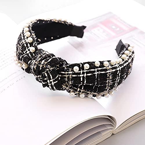 huixuan Hårnål ull pläd pärla knut hårband knutet pannband för kvinnor flickor hårtillbehör (färg: Silver)
