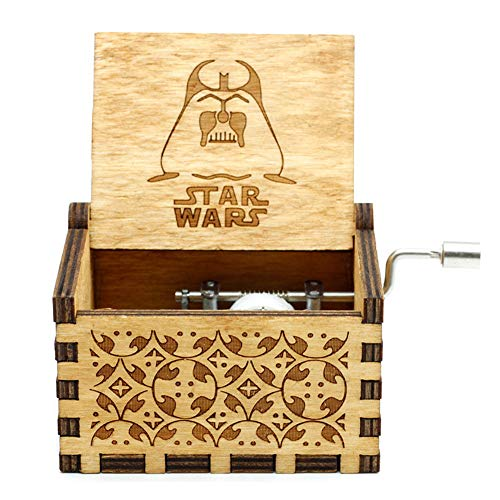 Goodangie00 Hölzerne Spieluhr Holz Handkurbel Graviert Musikbox Vintage Hochzeit Valentinstag Weihnachten Geburtstagsgeschenk - Star Wars