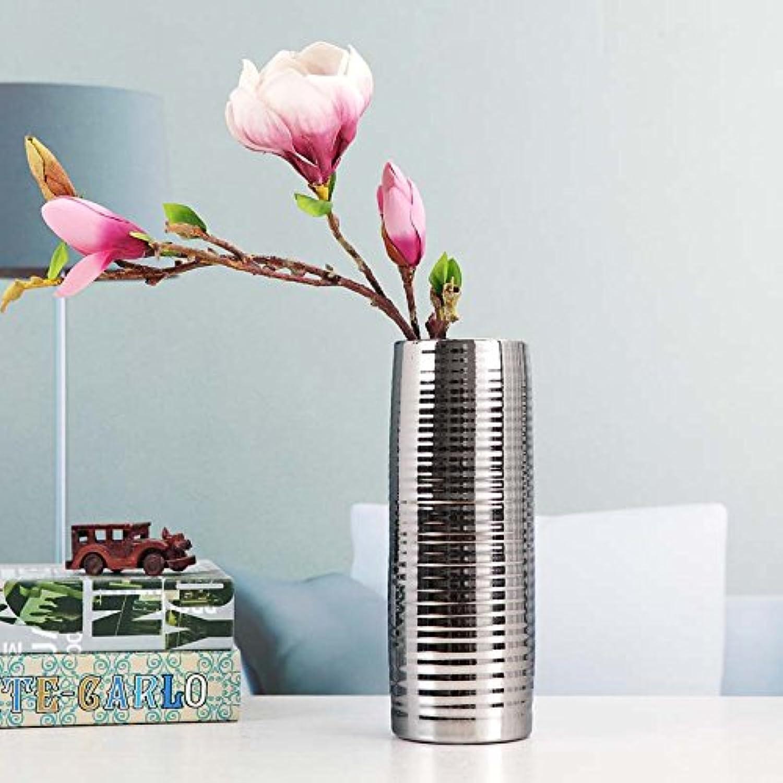 XOYOYO Trois ensembles de vase en céramique plaqué argent Décoration AmeubleHommest Meuble Tv Salon Decoration Artisanat,un pilier d'argent