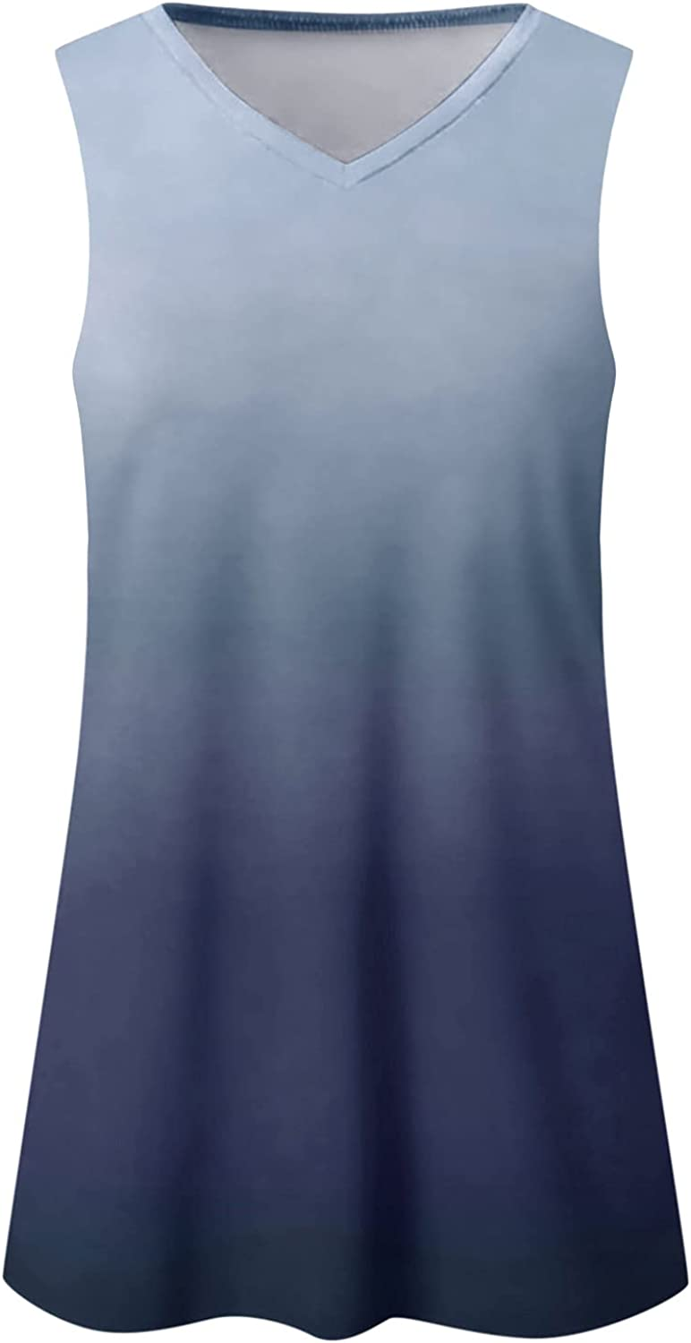 Aukbays T-Shirt for Womens Women Summer O-Neck Tops Gradient Printed Gradient Color Blouses Short Sleeve Shirt Tunic Top