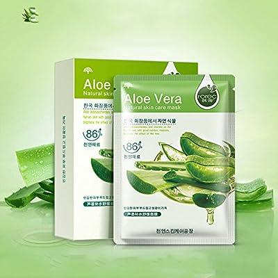 Oshide 10Pcs Facial Sheet Mask Hydrating Aloe Shrinking Pores Skin Care Oil Control Mask Sheet by Oshide