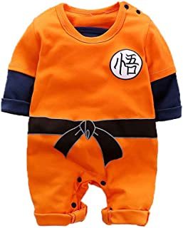 Baby Boy's Halloween Costume for Goku Cosplay Cotton Jumpsuit Onesie Anime Romper Outfit Infant Toddler