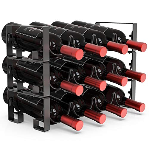MOCREO Wine Rack Organizer for 12 Bottles Stackable 3-Tier Wine Storage Rack Countertop for Pantry,Wine Holder Storage Stand